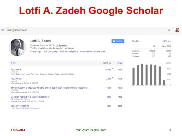 17.05.2014 muruganm1@gmail.com 9 Lotfi A. Zadeh Google Scholar