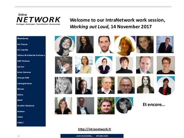 "1 h""p://intranetwork.fr Membres Air France Air Liquide Allianz Worldwide Partners BNP Paribas Cartier Euler Hermes Groupe ..."