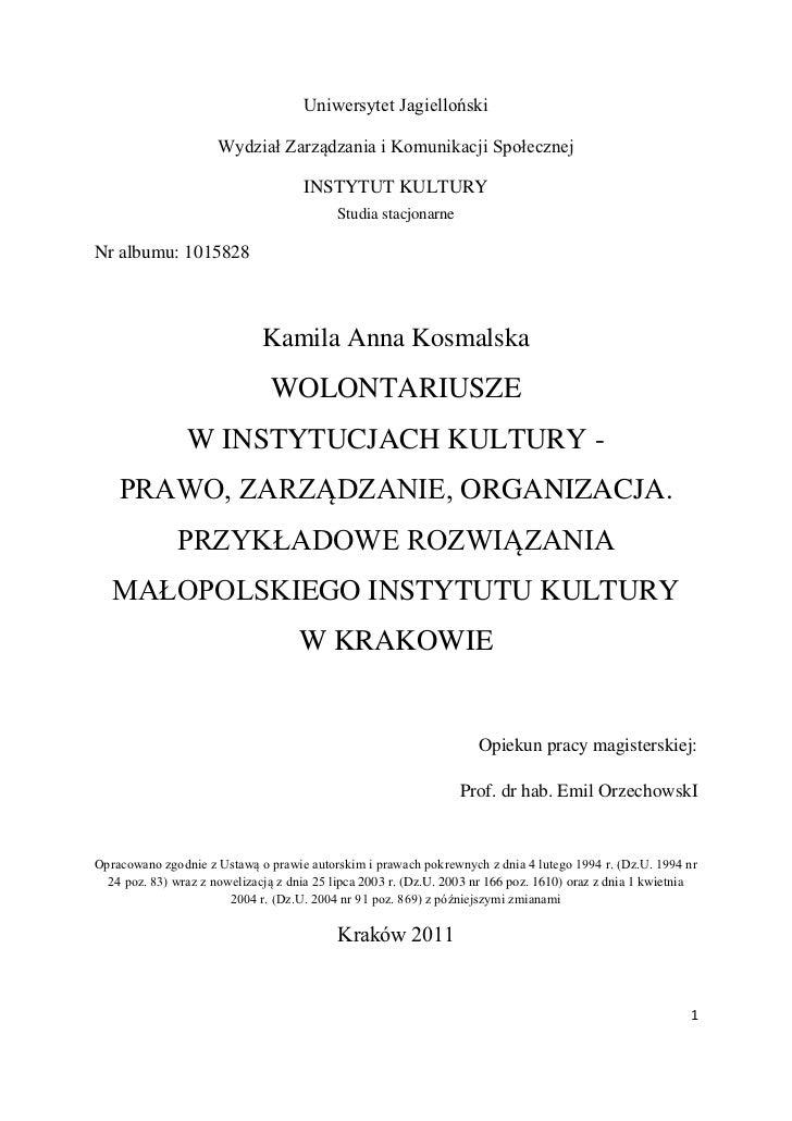 Uniwersytet Jagielloński                      Wydział Zarządzania i Komunikacji Społecznej                                ...