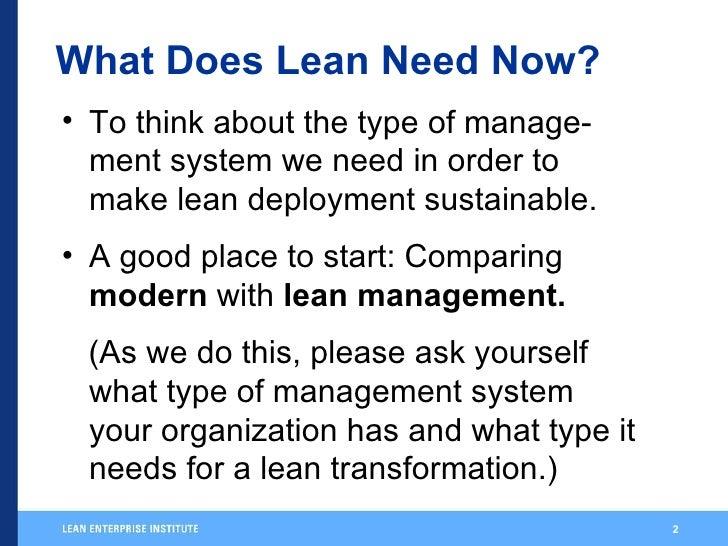 Womack  Modern Vs  Lean  Management Slide 2