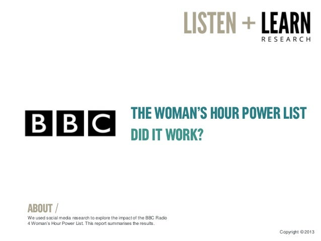 THE WOMAN'S HOUR POWER LIST DID IT WORK? ABOUT / We used social media research to explore the impact of the BBC Radio 4 Wo...