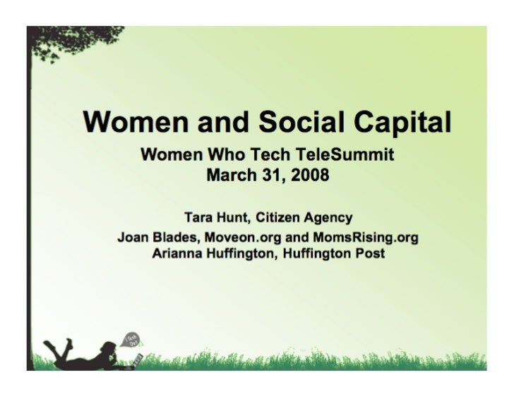 It's probably useful for me to start by describing what I mean by social capital...
