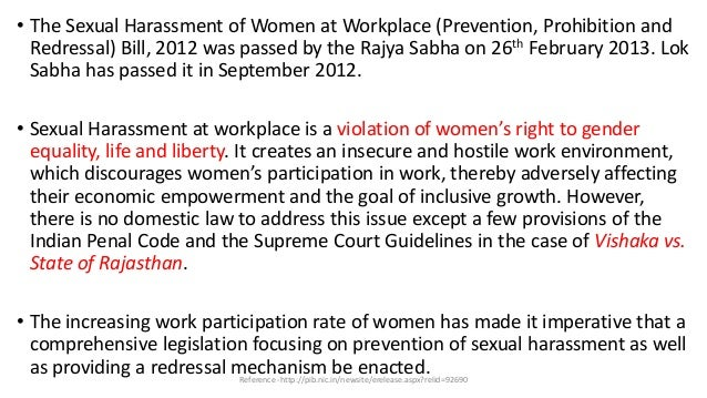 Prevention Of Sexual Harassment At Workplace Act
