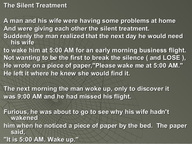 men who give the silent treatment