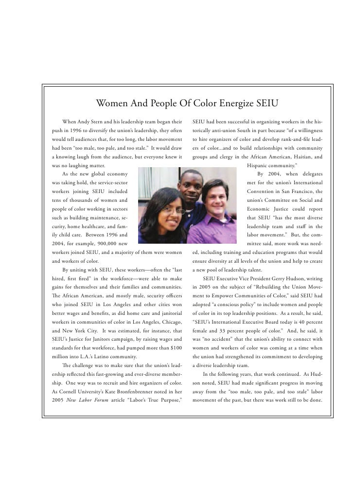 Women And People Of Color Energize SEIU     When Andy Stern and his leadership team began their       SEIU had been succes...