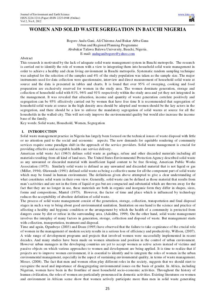 Journal of Environment and Earth Science                                                                    www.iiste.orgI...