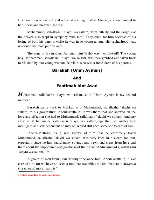 Her condition worsened, and while at a village called Abwaa', she succumbed to  her illness and breathed her last.  Muhamm...