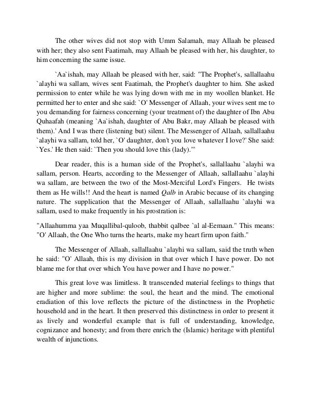 The other wives did not stop with Umm Salamah, may Allaah be pleased  with her; they also sent Faatimah, may Allaah be ple...