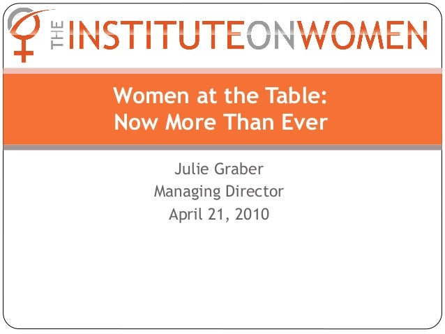 Women at the Table:Now More Than Ever     Julie Graber   Managing Director    April 21, 2010