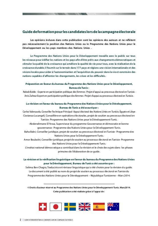 Guide de formation pour les candidates lors des campagnes électorales Slide 3