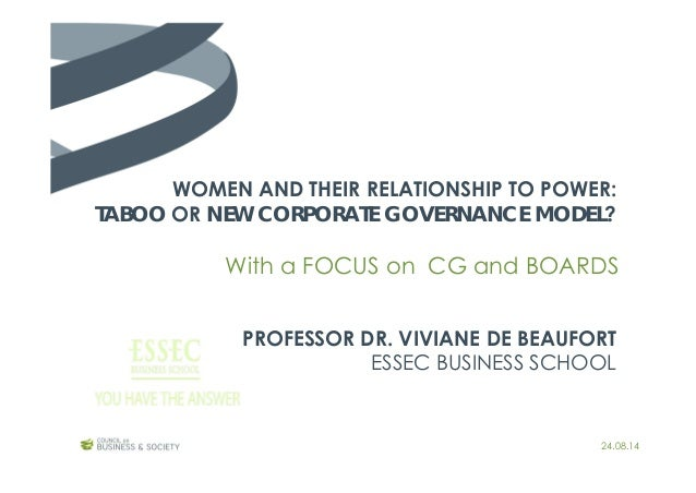WOMEN AND THEIR RELATIONSHIP TO POWER: TABOO OR NEW CORPORATE GOVERNANCE MODEL? PROFESSOR DR. VIVIANE DE BEAUFORT ESSEC BU...