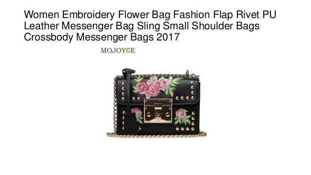 bda56b86c2 Women embroidery flower bag fashion flap rivet pu leather messenger bag  sling small shoulder bags crossbody messenger bags 2017