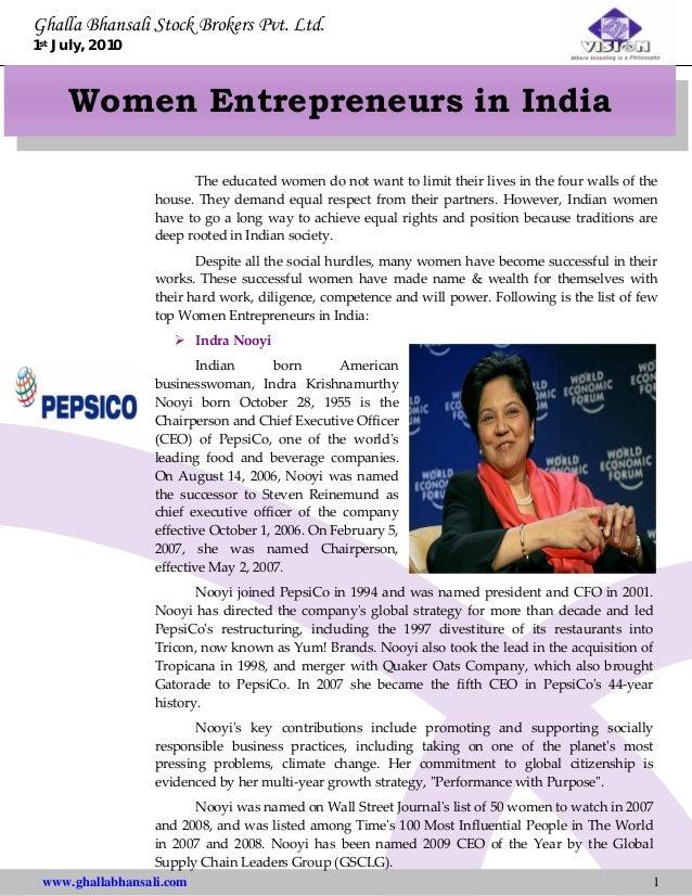Ghalla Bhansali Stock Brokers Pvt. Ltd. 1st July, 2010 www.ghallabhansali.com 1 Women Entrepreneurs in India Theeducated...