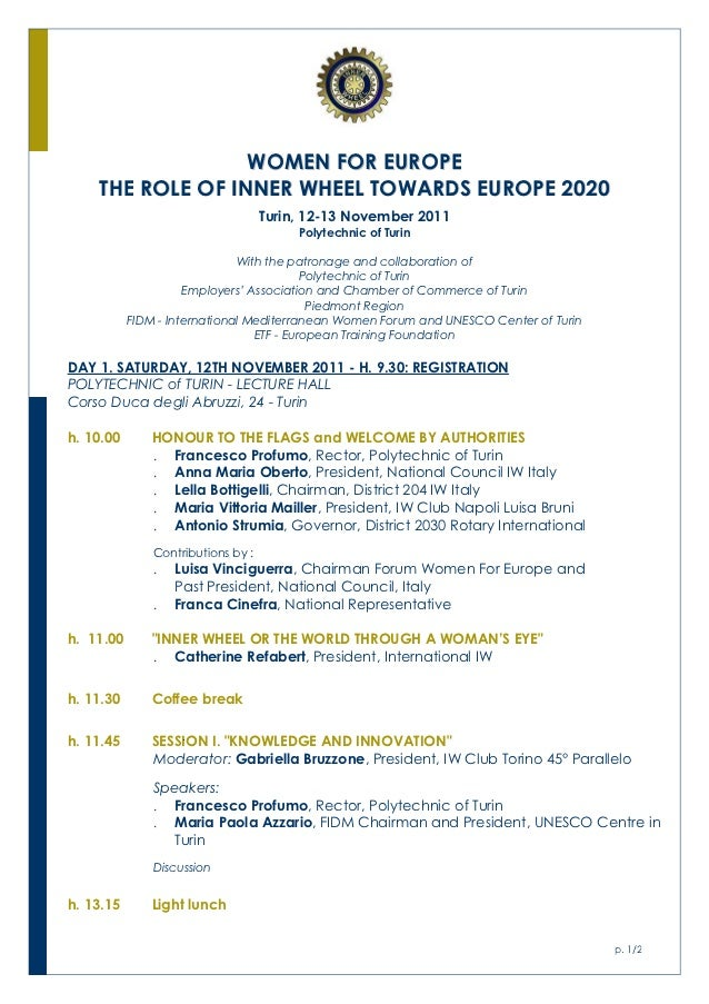 WOMEN FOR EUROPE    THE ROLE OF INNER WHEEL TOWARDS EUROPE 2020                                    Turin, 12-13 November 2...