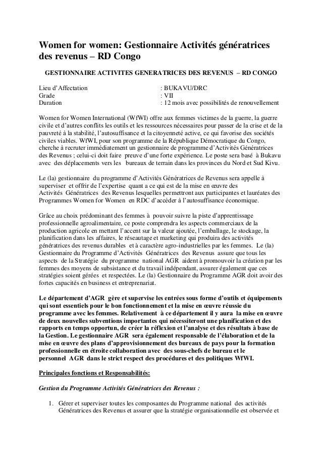 Women for women: Gestionnaire Activités génératrices des revenus – RD Congo GESTIONNAIRE ACTIVITES GENERATRICES DES REVENU...
