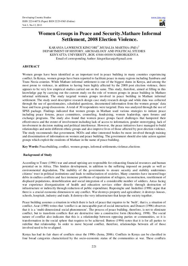 Developing Country Studies ISSN 2224-607X (Paper) ISSN 2225-0565 (Online) Vol.3, No.12, 2013  www.iiste.org  Women Groups ...