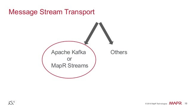 ® © 2016 MapR Technologies 19® © 2016 MapR Technologies 19 Message Stream Transport Apache Kafka or MapR Streams Others