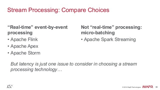 """® © 2016 MapR Technologies 35® © 2016 MapR Technologies 35 Stream Processing: Compare Choices """"Real-time"""" event-by-event p..."""