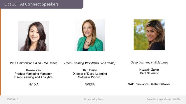10/20/2017 Women in Big Data Event Hashtags: #IamAI, #WiBD Oct 18th AI Connect Speakers WiBD Introduction & DL Use Cases R...