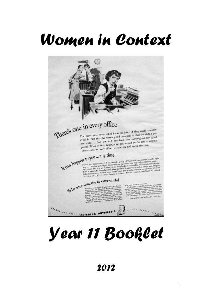 Women in ContextYear 11 Booklet      2012                   1