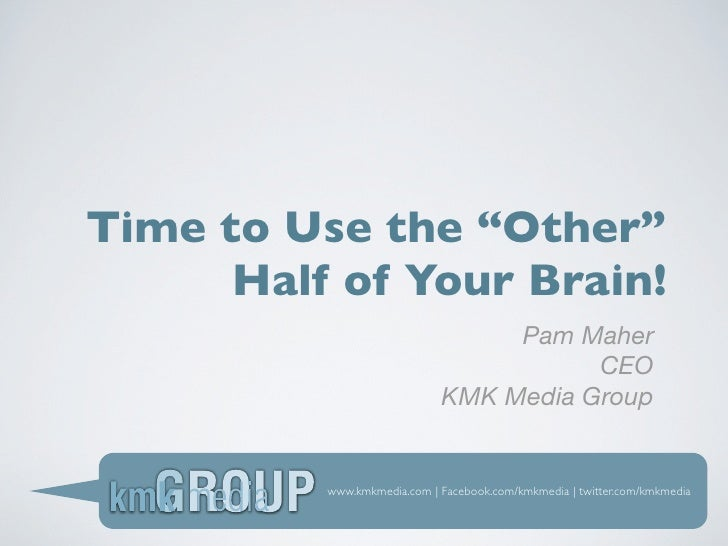 """Time to Use the """"Other""""      Half of Your Brain!                                  Pam Maher                               ..."""