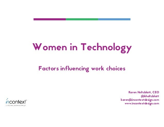 Karen Holtzblatt, CEO @kholtzblatt karen@incontextdesign.com www.incontextdesign.com Factors influencing work choices Wome...