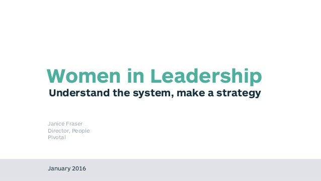 Understand the system, make a strategy Women in Leadership January 2016 Janice Fraser Director, People Pivotal