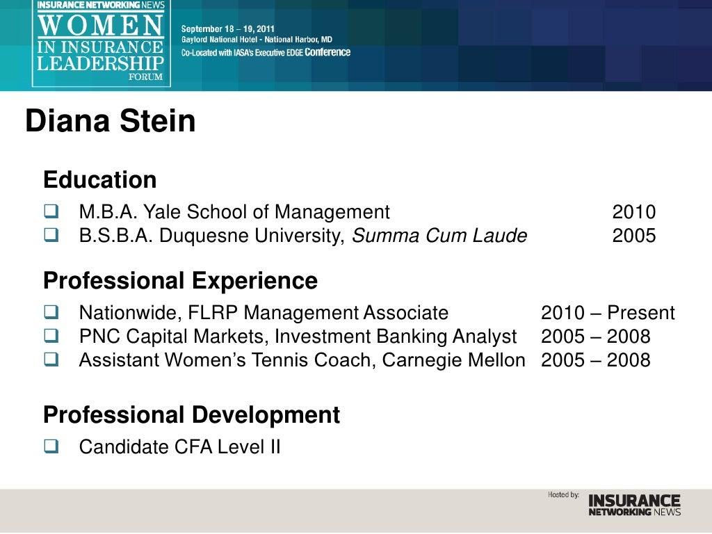 Diana Stein Education  M B A
