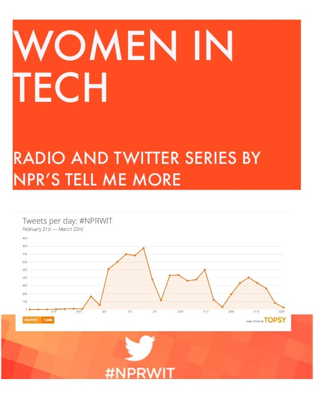 WOMEN IN TECH RADIO AND TWITTER SERIES BY NPR'S TELL ME MORE