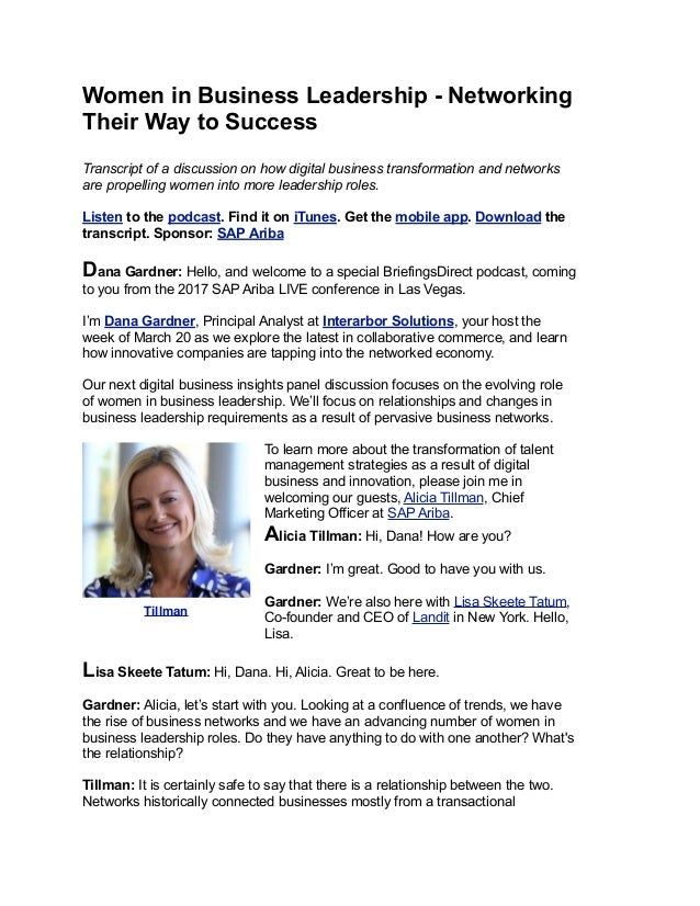 Women in Business Leadership - Networking Their Way to Success Transcript of a discussion on how digital business transfor...