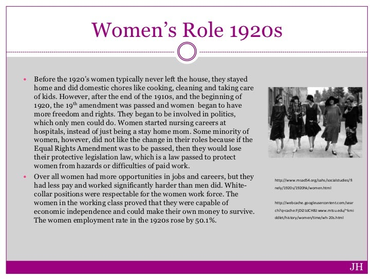 changing womens roles in the 1920s