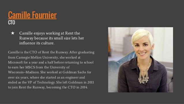 Camille Fournier CTO Camille is the CTO of Rent the Runway. After graduating from Carnegie Mellon University, she worked a...