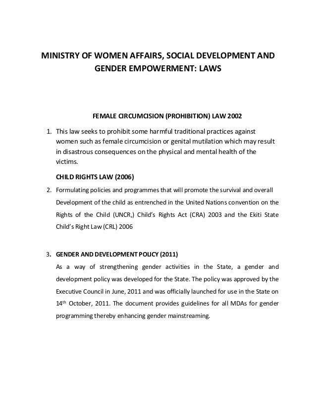 MINISTRY OF WOMEN AFFAIRS, SOCIAL DEVELOPMENT AND GENDER EMPOWERMENT: LAWS FEMALE CIRCUMCISION (PROHIBITION) LAW 2002 1. T...