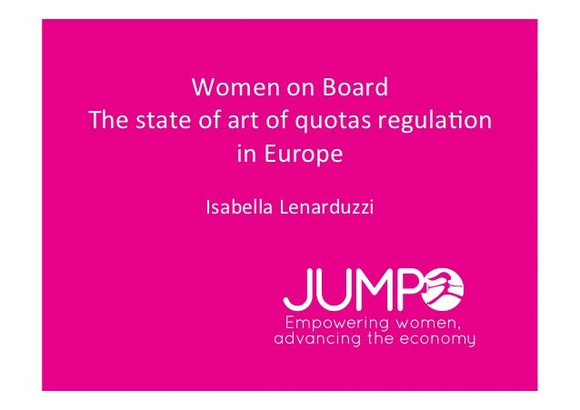Women on Board The state of art of quotas regula4on                        in Europe              ...