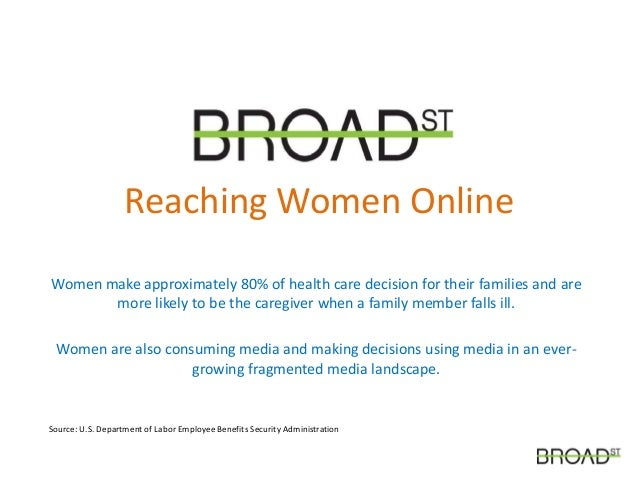 Reaching Women Online Women make approximately 80% of health care decision for their families and are more likely to be th...