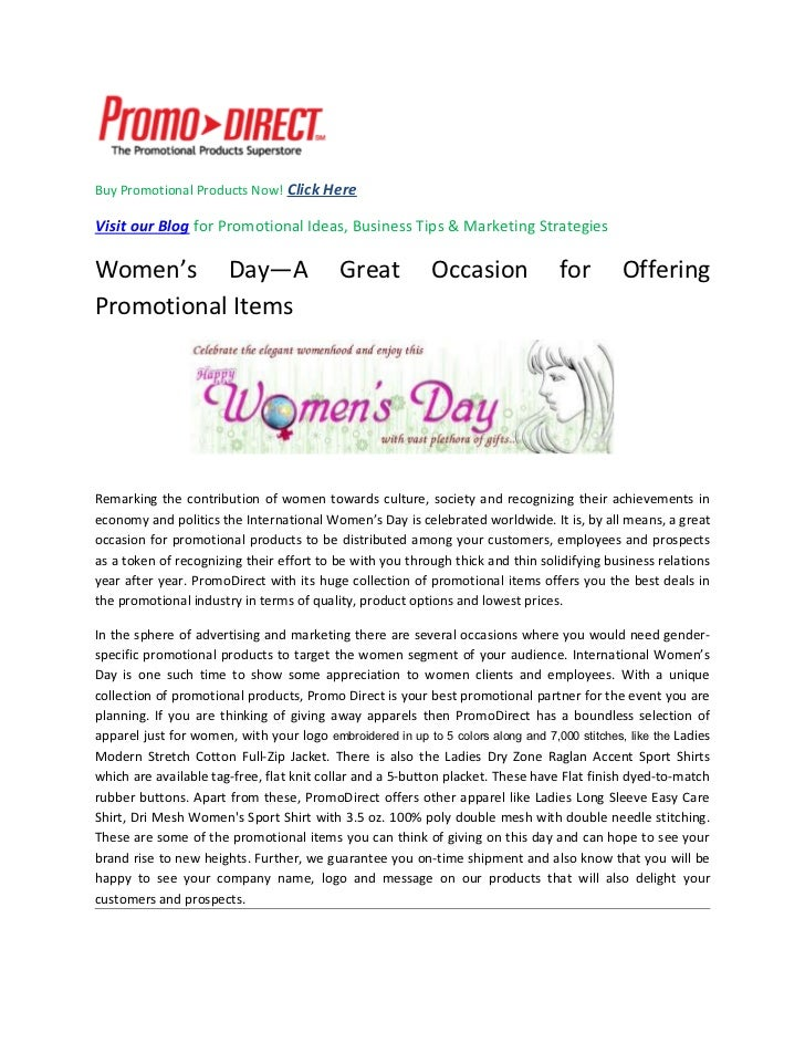 Women s day - a great occasion for offering promotional items content  sharing ... cea37c620