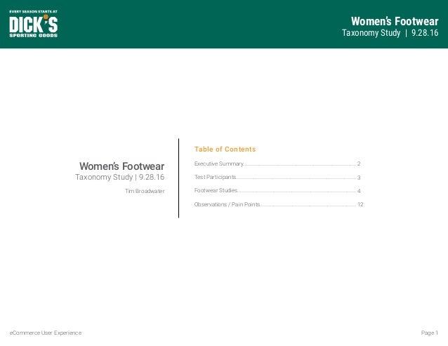 Women's Footwear Taxonomy Study