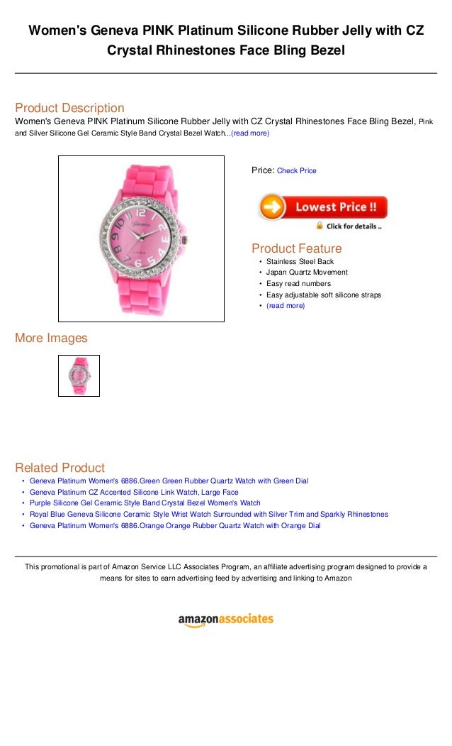 Women's geneva pink platinum silicone rubber jelly with cz