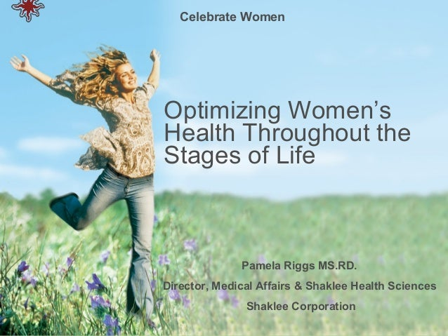 Celebrate WomenOptimizing Women'sHealth Throughout theStages of Life              Pamela Riggs MS.RD.Director, Medical Aff...