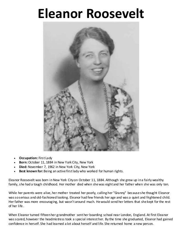 Eleanor Roosevelt Essays (Examples)