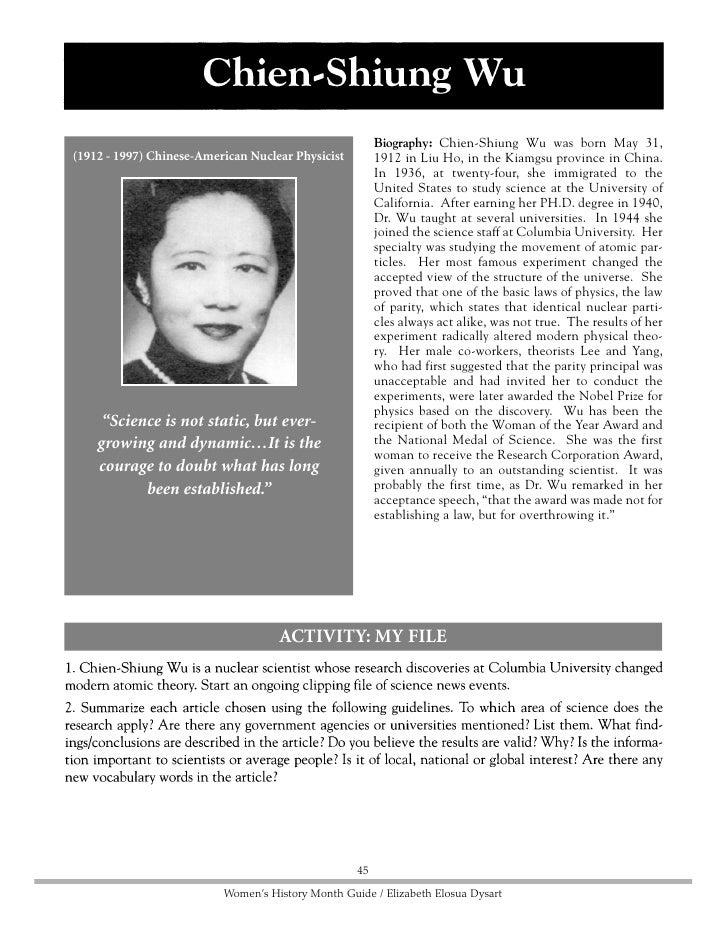 Place Photo Here                                 46     Women's History Month Guide / Elizabeth Elosua Dysart