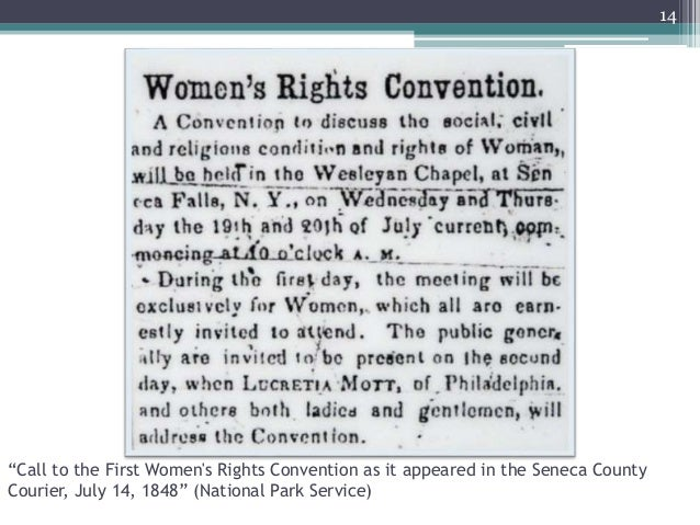 """""""Call to the First Women's Rights Convention as it appeared in the Seneca County Courier, July 14, 1848"""" (National Park Se..."""