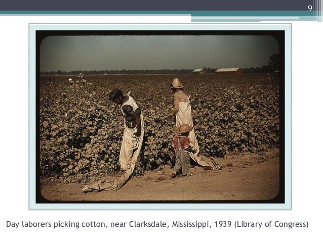 Day laborers picking cotton, near Clarksdale, Mississippi, 1939 (Library of Congress) 9