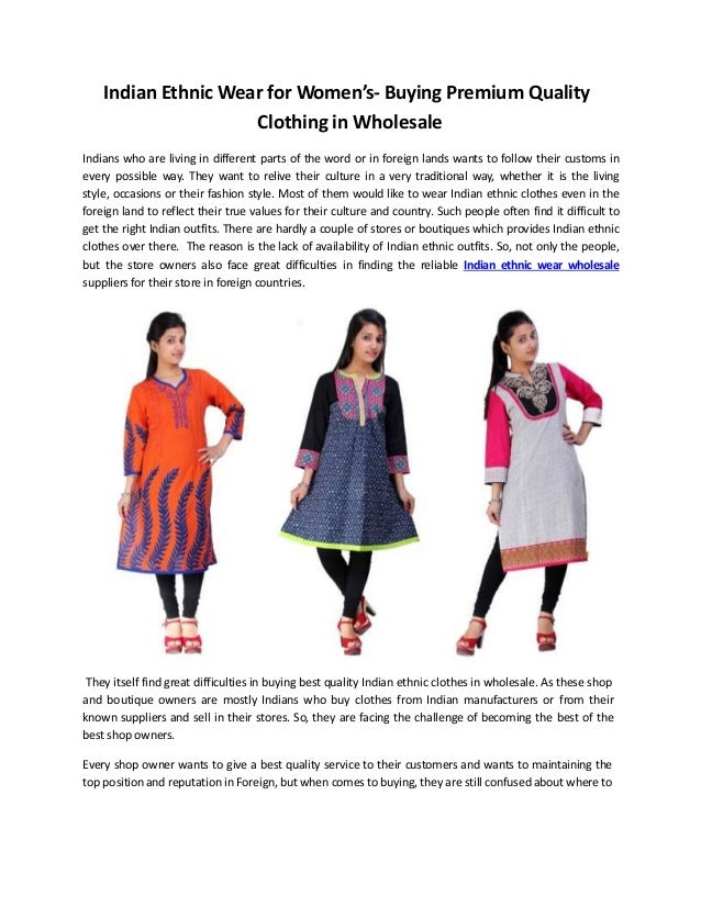Women's Indian Ethnic Wear- Buying Premium Quality Wholesale Clothing…