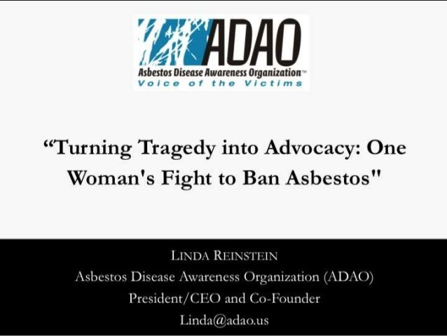 """Reinstein: """"Turning Tragedy into Advocacy: One Woman's Fight to Ban Asbestos"""""""