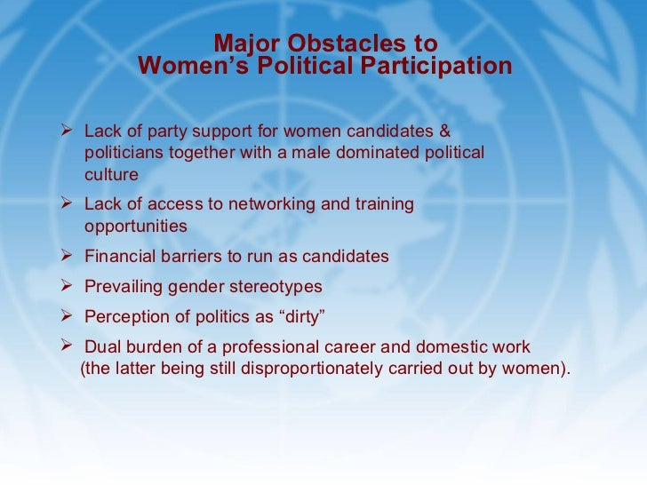 political participation and representation of women Women, politics, and power: a global perspective, third edition provides a clear, detailed introduction to women's political participation and representation across.