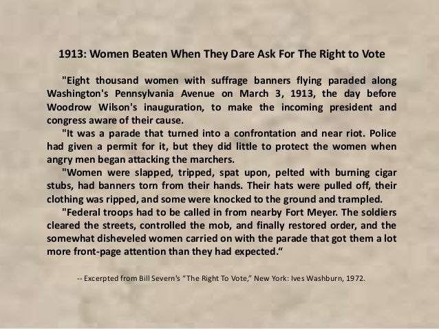Women were arrested and sent to the Occoquan Workhouse in Virginia. There were reports of bad treatment at the Workhouse. ...