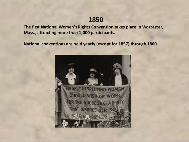 1850 The first National Women's Rights Convention takes place in Worcester, Mass., attracting more than 1,000 participants...