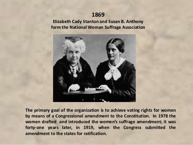 The primary goal of the organization is to achieve voting rights for women by means of a Congressional amendment to the Co...