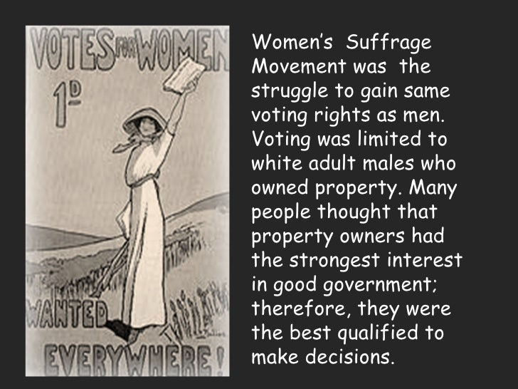 an analysis of the womens suffrage movement A brief summary of the 1911 campaign  in 1896 women in california had lost  their first contest for the right to vote  text adapted with permission from  winning the vote: the triumph of the american woman suffrage movement by  robert.